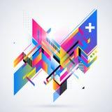 Abstrakt geometrisk beståndsdel med färgrika lutningar och glödande ljus Arkivbilder