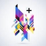 Abstrakt geometrisk beståndsdel med färgrika lutningar och glödande ljus Arkivfoto