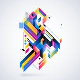 Abstrakt geometrisk beståndsdel med färgrika lutningar och glödande ljus Arkivbild