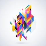Abstrakt geometrisk beståndsdel med färgrika lutningar och glödande ljus Företags futuristisk design som är användbar för present Royaltyfri Foto