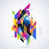Abstrakt geometrisk beståndsdel med färgrika lutningar och glödande ljus Företags futuristisk design som är användbar för present Royaltyfri Fotografi
