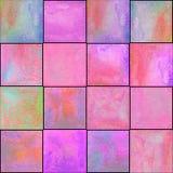 Abstrakt geometrisk sömlös modell med fyrkanter Färgrikt akvarellkonstverk royaltyfria foton