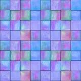 Abstrakt geometrisk sömlös modell med fyrkanter Färgrikt akvarellkonstverk royaltyfri foto