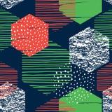Abstrakt geometrisk sömlös repetitionmodell med sexhörningar vektor illustrationer