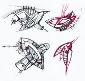 Abstrakt geometrisk teckning Arkivbild