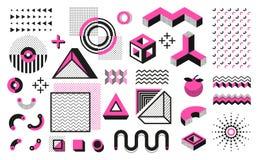 abstrakt geometriska former Memphis moderna minsta beståndsdelar, rastrerad modell för hipstersvart Moderiktig geometrisk konst f vektor illustrationer