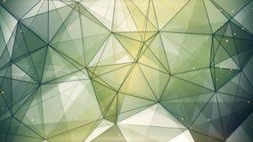 Abstrakt geometriskt bakgrundsmörker - gröna trianglar och linjer Royaltyfria Bilder