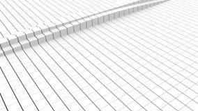 Abstrakt geometriskt många resningen och fallande vitkuber, dator frambragte tolkningen 3D royaltyfri illustrationer