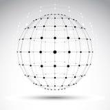 Abstrakt geometriskt objekt för wireframe 3D, modern digital technolog Fotografering för Bildbyråer