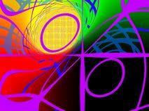 Abstrakt geometriskt virvlat runt färgrikt Arkivbild