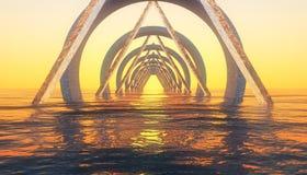 Abstrakt geometrisolnedgång Arkivbild