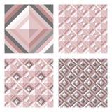 Abstrakt geomodell i rosa färger för rodnad Uppsättning av bakgrunder för yttersida 3D vektor illustrationer