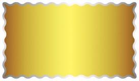 Abstrakt glänsande guld- bakgrund för metallyttersida med en silverram vektor illustrationer