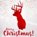Abstrakt glad julkort med hjortar Royaltyfri Illustrationer