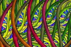Abstrakt glansig mosaikprydnad i karmosinröda, gula och gröna färger för blått, Arkivbild