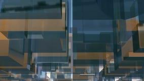 Abstrakt glass för kvarterform för kub 3D bakgrund stock video