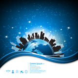 Abstrakt global stads- stadskommunikation för vektor och modern livsstilbegreppsbakgrund Arkivbild
