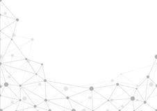 Abstrakt grå geometrisk bakgrund med kaos av förbindelselinjer och prickar arkivfoto