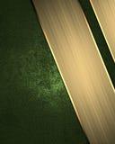 Abstrakt grön bakgrund med guldlinjer och tecken för text Beståndsdel för design Mall för design kopieringsutrymme för annonsbros Royaltyfri Foto