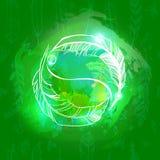 Abstrakt grön bakgrund med konturer två fjädrar Yin Yang Vektor Illustrationer