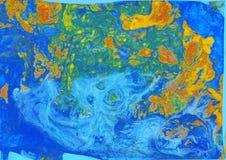 Abstrakt grön blå apelsinmarmortextur, moderiktig konst för akryler stock illustrationer