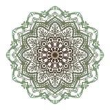 Abstrakt grön brun tolv-pekad mandala för vektor royaltyfri illustrationer