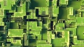 Abstrakt grön futuristisk technomodell Digital 3d illustration Royaltyfri Bild