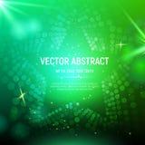 Abstrakt grön ingreppsstjärnabakgrund med cirklar, linssignalljus och glödande reflexioner också vektor för coreldrawillustration Arkivbild