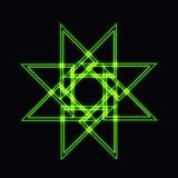 Abstrakt grön neonform, futuristisk krabb fractal av stjärnan Royaltyfri Foto