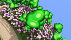 Abstrakt grön planet med växande blommor och trädbegrepp stock illustrationer