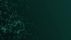 Abstrakt grön plexusstruktur som utvecklar i rörelsebakgrund med teknologi arkivfilmer