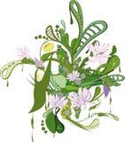 Abstrakt grön prydnad med blommor Fotografering för Bildbyråer