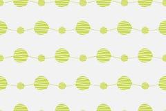 Abstrakt grön sömlös vektormodell Vågor med den drog handen cirklar bakgrund Arkivfoto