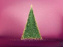 Abstrakt grönt julträd på rött. EPS 10 Royaltyfri Foto