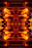 Abstrakt grafisk collage med detaljen av den brinnande brasan och journaler Royaltyfri Foto