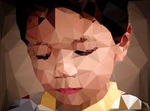 Abstrakt grafisk polygonillustration av barn Arkivbild