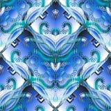 Abstrakt grek för elegans i sömlös modell för blåa färger Modern geometrisk utsmyckad bakgrund för vektor 3d Upprepa blom- stilfu stock illustrationer