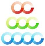 Abstrakt gripa in i varandra cirklar beståndsdeluppsättningen med 3 variation 2, 3 stock illustrationer