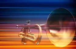 Abstrakt grungebakgrund med trumpeten Arkivfoton