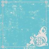 Abstrakt Grungeblåttbakgrund Prydnaden inramar Arkivfoto