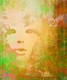 abstrakt grungeståendekvinna Royaltyfria Bilder