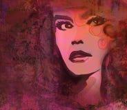 abstrakt grungeståendekvinna Arkivbild