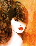 abstrakt grungeståendekvinna Royaltyfri Fotografi