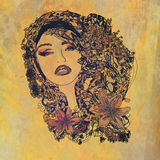 abstrakt grungeståendekvinna Royaltyfri Foto