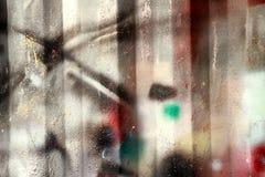 Abstrakt grungy metallyttersida med målarfärger Arkivfoto