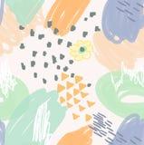 Abstrakt gryzmoli pomarańcze z kwiatem i trójbokami ilustracja wektor