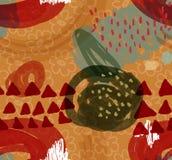 Abstrakt gryzmoli z kwiatu i czerwieni trójbokami po całym Zdjęcie Stock