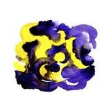 Abstrakt gul och violett bakgrund för borsteslaglängdvattenfärg royaltyfri illustrationer