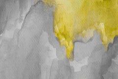 Abstrakt gul vattenfärg på texturerat papper Målad vattenfärgbakgrund för guling och för grå färger hand vektor illustrationer