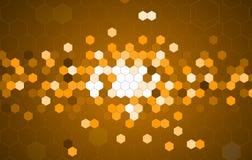 Abstrakt guld- bakgrund för information om sexhörningsteknologi Arkivbild